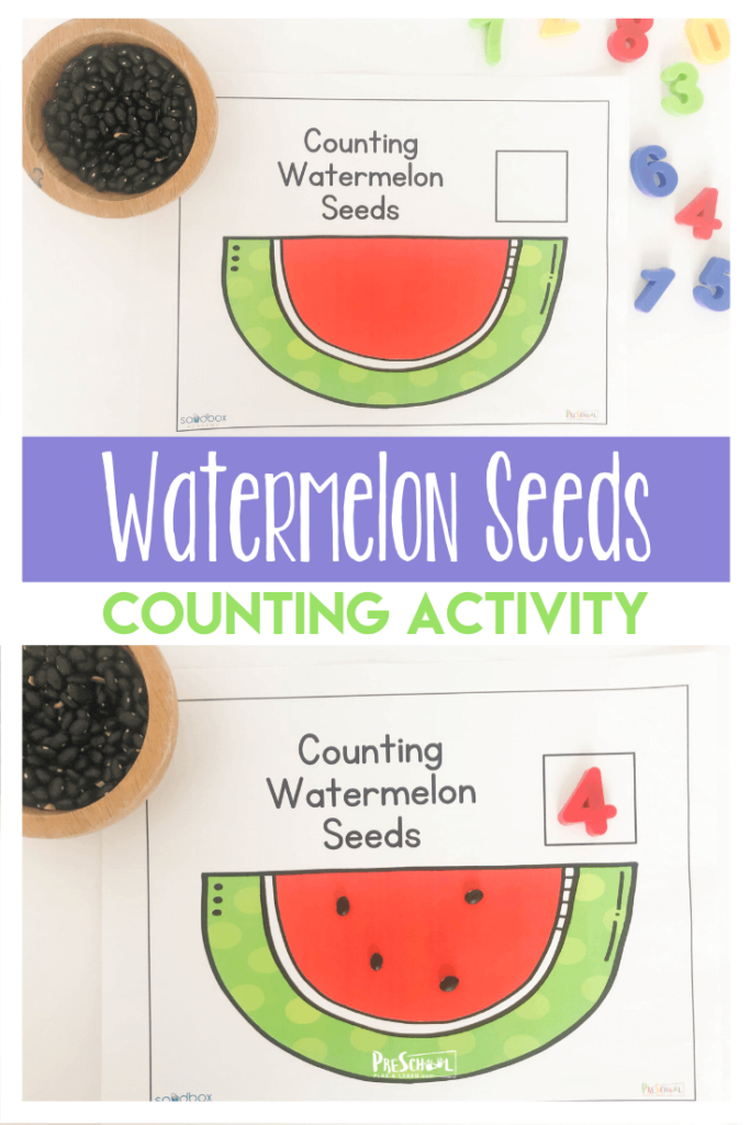 This fun, hands on counting activity with Watermelon Worksheets is such a great way to sneak in some summer time math with preschoolers!