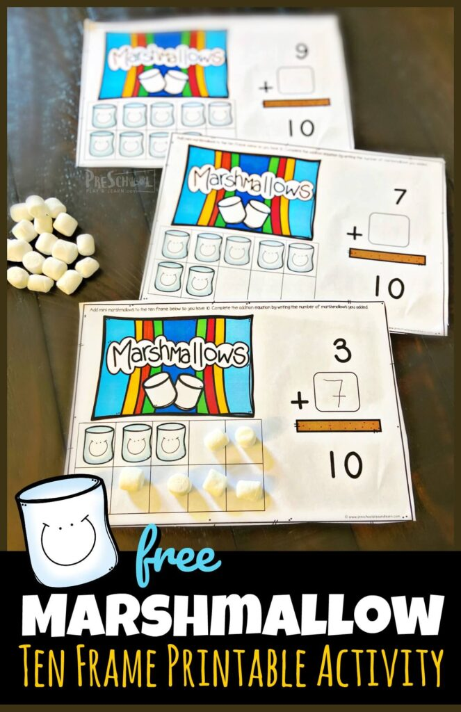 Kids will be excited to practice math with this fun summer activities for preschoolers! This Marshmallow Ten Frame Activity is SUPER CUTE and simple. Grab a bag of mini marshmallows afor a hands-on math manipulative and use this with a camping theme or summer printable! Simply download pdf file with marshmallow printable and you are ready for thissummer math!
