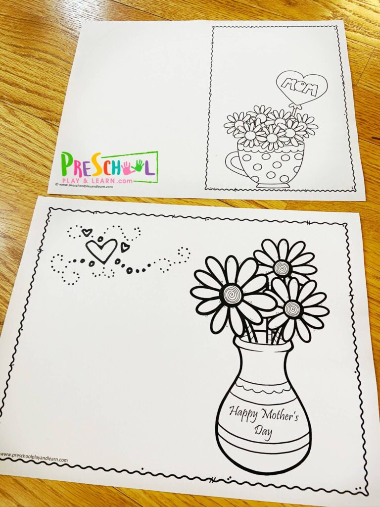 Printable Mothers Day Card to print and color for Mom