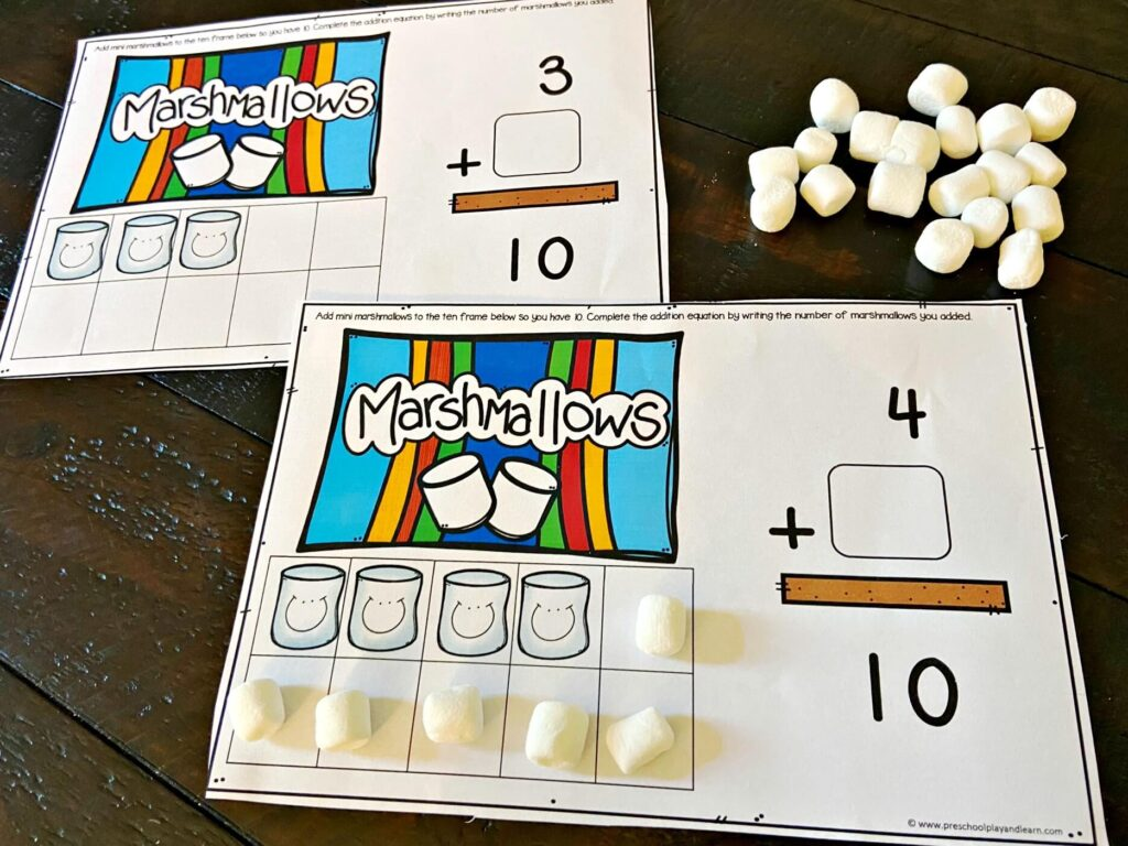 add mini marshmallows to complete your Ten Frame Math