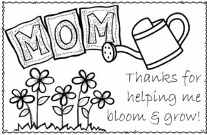 Thank you for watering me to I bloom and grow Happy Mothers Day Card with flowers, watering can, and MOM