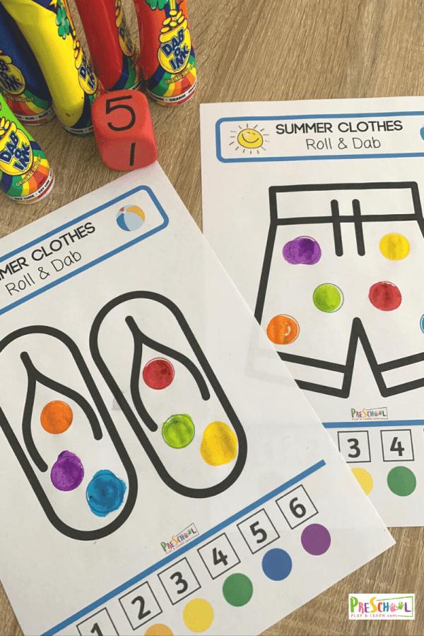 Summer themed bingo dauber worksheets for toddlers, preschoolers, pre k, and kindergartners