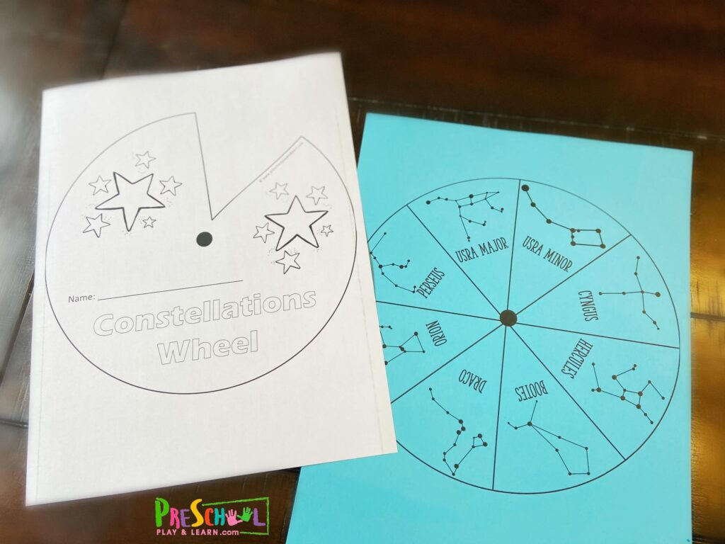 grab this free constellation printables to make wheel to learn 8 major constellations for kids