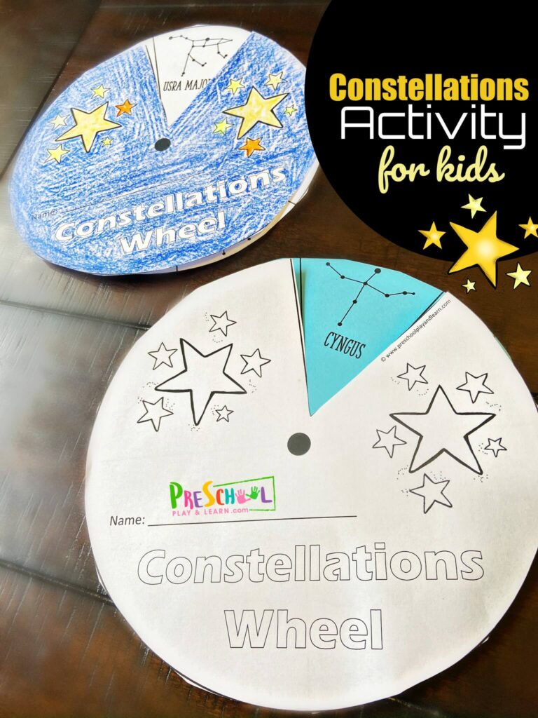 FREE Constellations Printable Wheel for kids to spin and learn about major star formations. Perfect for astronomy unit, solar system for kids activity, hands on science and more for preschool, pre k, kindergarten, first grade, 2nd grade, 3rd grade, 4th grade students
