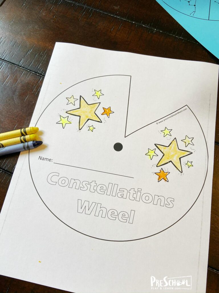 free constellations wheel to teach preschool, pre k, kindergarten, first grade, and 2nd graders about starts, astronomy, and the solar system
