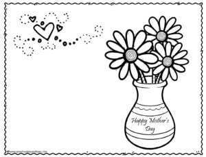 cute flowers in vase Mothers Day Card to print and color