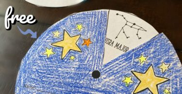 Young learners will have fun exploring star patterns with this fun,Constellations Printable Wheel. This is great for an introduction to our solar system, to use with a hands on constellations activity, or a variety of other uses with toddler, preschool, pre k, kindergarten, first grade, and 2nd grade students.