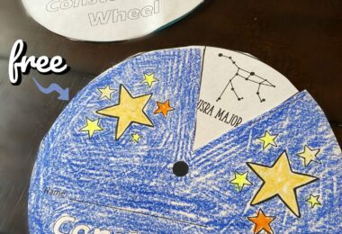 Young learners will have fun exploring star patterns with this fun, Constellations Printable Wheel. This is great for an introduction to our solar system, to use with a hands on constellations activity, or a variety of other uses with toddler, preschool, pre k, kindergarten, first grade, and 2nd grade students.