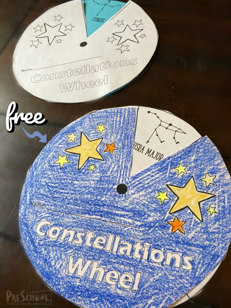 Young learners will have fun exploring star patterns with this fun, Constellation Printables Wheel. This free constellation printables is great for an introduction to our solar system, to use with a hands-on constellations activity, or a variety of other uses with toddler, preschool, pre-k, kindergarten, first grade, and 2nd grade students. Simply download pdf file with the star wheel printable and you are ready to play and learn abou tthe stars in the night sky!