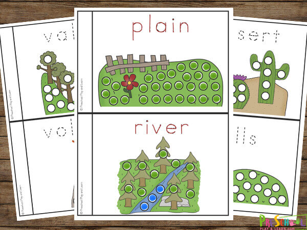 These super cute landform worksheets are perfect for preschoolers, pre k, and kindergartners learninga bout landforms such as island, desert, hills, canyon, island, lake, volcano, and more