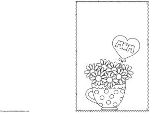 polka dot teacup with flowers and heart mom balloon Mothers Day Printable Cards to Color