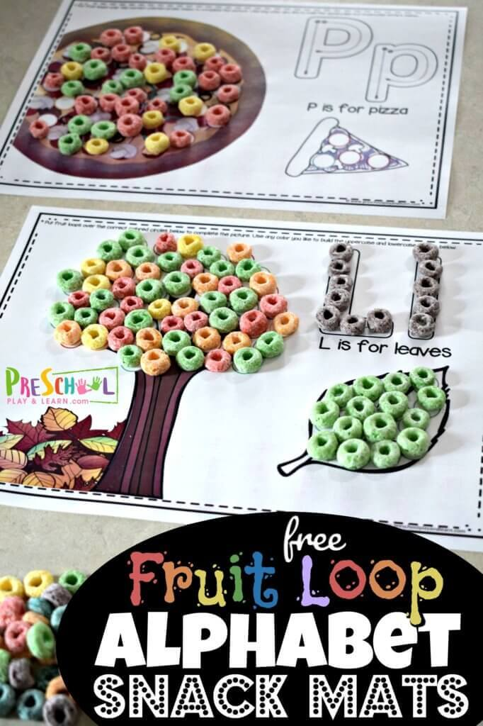 These Fruit Loop Alphabet Snack Mats are so clever! Children will practice color recognition, pincer grip, and letter recognition with these free abc printables. Complete with letter and pictures in thefruit loops coloring pages with fruit loops or skittles! Play, Snack, Repeat! These are perfect for toddler, preschool, pre k, kindergarten, and grade 1 students.
