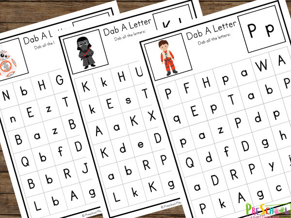 free printable star wars worksheets to use with crayon, playdough, dry erase marker, mini figures or pom poms to cover the upper and lowercase letters featured on the alphabet card