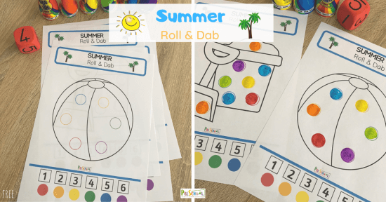 use bingo markers with summer printables for pre k