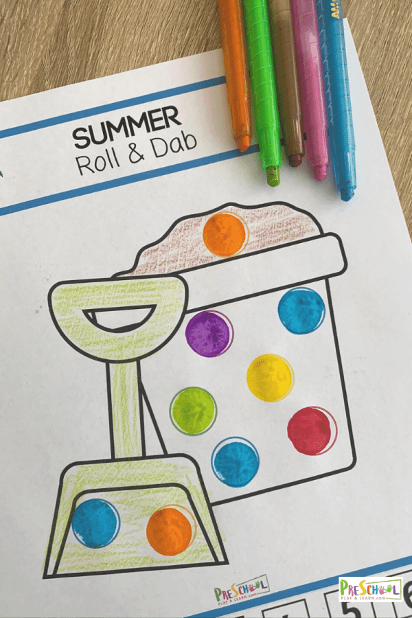 super cute, free printable summer worksheets for preschoolers using color by code