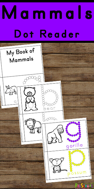 FREE A to Z Mammals Book - fun printable for learning about mammals with this free printable A to Z Mammals Book. This is a great way to introduce animal classifications, learn vocabulary, strengthen fine motor skills by tracing letters, and have fun with a science do a dot printable. Use this at school or at home with toddler, preschool, pre k, and kindergarten age student.