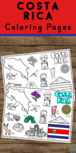 Free printable Costa Rica Coloring pages to colour and learn about this tropical central American country with kids