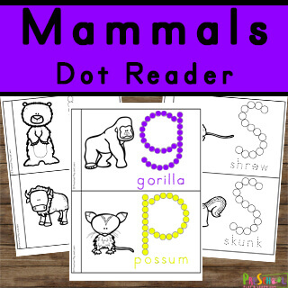 science Do a Dot Printables to help toddler, preschool, pre k, and kindergarten learn about mammals