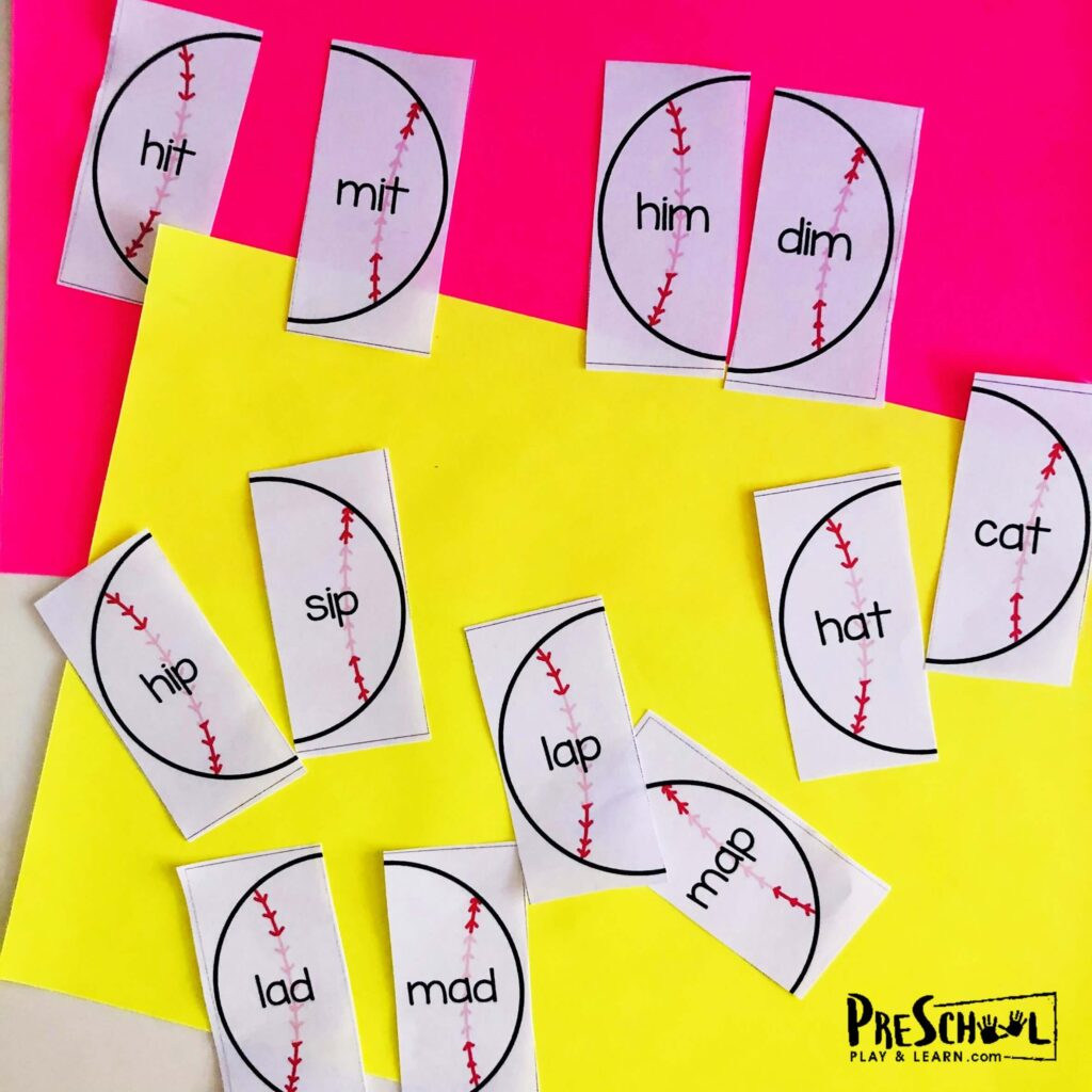 spring and summer themed Rhyming Activity for Pre K