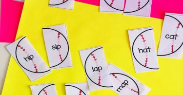 Rhyming CVC Words with baseball puzzles for pre k, kindergarten, first grade