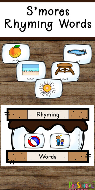 FREE Smores Rhyming Words - Have fun improving reading readiness with this fun smores themed rhyming words activity! This is a fun summer themed or camping themed activity for preschool, pre k, kindergarten, and first grade students.