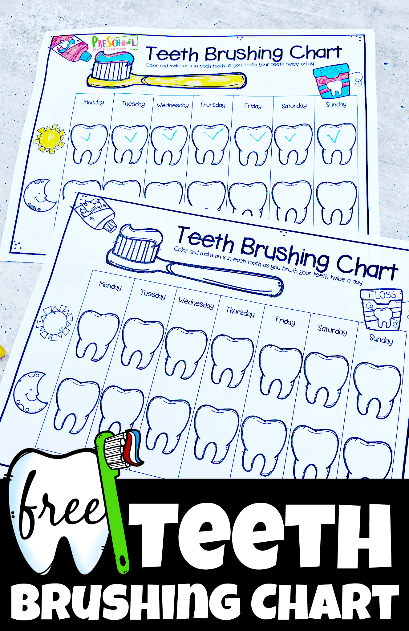 FREE Teeth Brushing Chart - super cute printable to help toddler, preschool, pre k, kindergarten, and first graders remember to brush their teeth twice a day! Print in color or black and white.
