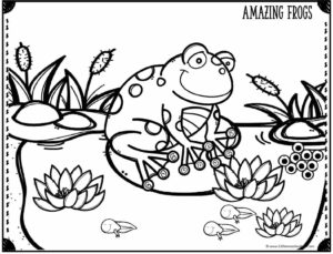 cute frog on lily pad coloring page