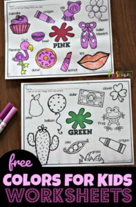 free color worksheet pack for kids