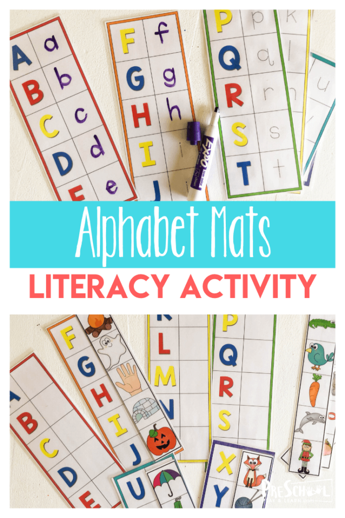 Literacy Activity for Preschoolers using free printable letter mats!