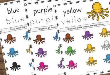 use these cute octopus printables with an ocean theme, letter o letter of the week unit, or fun color activity for toddler, preschool, pre k, and kindergarten age students