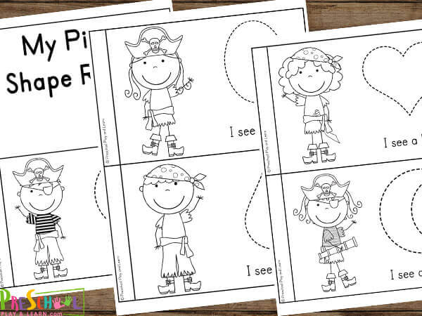 fun, printable shape activities for preschoolers with a pirate theme
