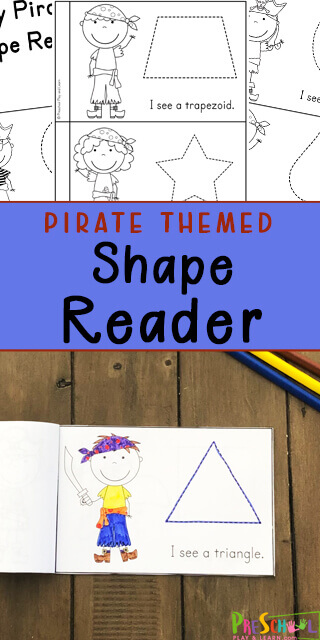 FREE Pirate themed Shape Reader - fun printable to work on reading skills while learning about a variety of different shapes. Use this free printable as part of a pirate theme for preschoolers, pre k, toddlers, and kindergartners.