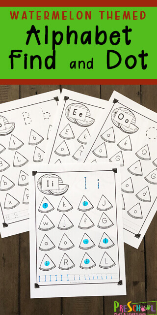 FREE Watermelon Themed Alphabet Find & Dot - Children will have fun learning their ABCs and searching for the upper and lowercase letters of the alphabet with these Watermelon Themed Find the Letter worksheets. These are the perfect summer learning activity for toddler, preschool, pre k, kindergarten students.