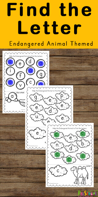 Preschoolers and kindergarteners will love working visual discrimination and letter recognition as they practice identifying uppercase and lowercase letters with these endangered animals Find the Letter free worksheets.