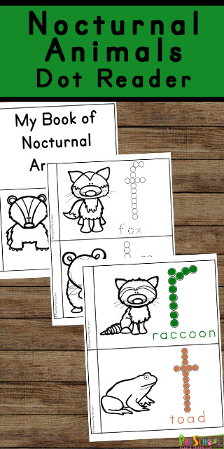 Teach children about nocturnal animals for kids with this free ABC book of animals. This nocturnal animals preschool, toddler, pre k, and kindergarten allows children to learn animals that are nocturnal. In addition, children will dab the letter to work on letter recognition, colour the animal coloring pages, and trace the letters that spell the animal name. We like to make this nocturnal animals preschool activities into a dot printablereader. Simply print nocturnal animals free printables and you are ready to play and learn about animals that are active at night.
