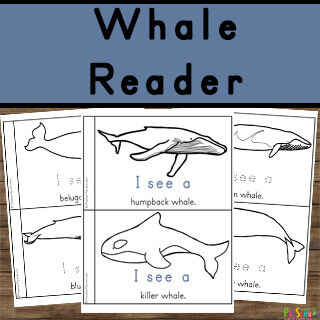 free printable whale reader for toddler, preschool, pre k, kindergarten age students
