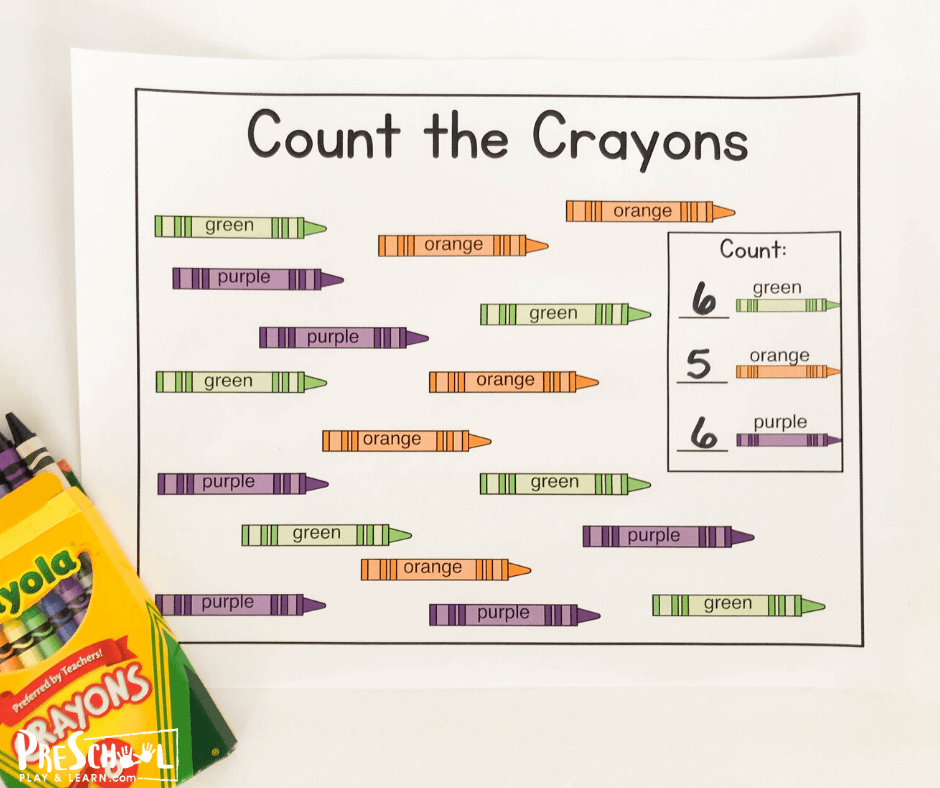 Count the number of crayons of a certain color and write the number you counted on the line in the box in this first day of school math activity for preschoolers