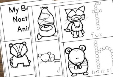 free printable nocturnal animals book for toddlers, preschoolers, and kindergartners