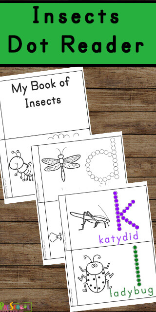 FREE Bugs Do a Dot Printables to help toddlers, preschoolers, and kindergarnters learn over 24 insects as they color their own reader.