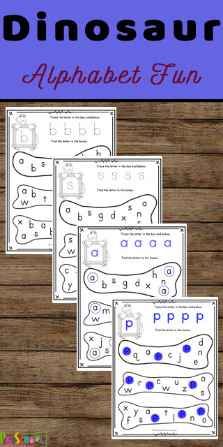 Make practicing learning lowercase letters fun with this dinosaur alphabet printable. Use these dinosaur worksheets with toddler, preschool, pre-k, or kindergarten age students to work on letter discriination. These preschool letter worksheets include a place to practice tracing lower case letters as well as a bone filled with letters to dab with bingo marker. Simply print the find the letter worksheets pdf file with letter find worksheets perfect for your upcoming dinosaur theme. My kids just love dot marker printables.
