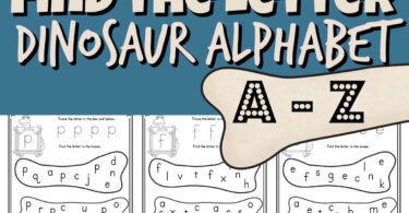 Make practicing learning lowercase letters fun with this dinosaur alphabet printable for toddler, preschool, pre k, and kindergarten age students. Simply print the pdf file with our dinosaur themed find the letter worksheet with space to letter trace and use bingo daubers to complete the do a dot printable as you work on the letter find.