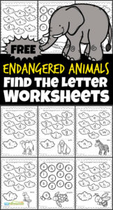 Preschoolers and kindergarteners will love working visual discrimination and letter recognition as they practice identifying uppercase and lowercase letters with these endangered animals, free printable, Find the Letter worksheets.