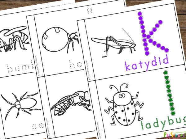 super cute and free Insect Printables for toddler, preschool, pre k, and kindergarten age students