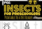 Young children will have fun learning about a variety of insects and creepy crawly bugs with this super cute, fun and free Insects Printable. Use bingo daubers then color and read your own My Books of Insects Dot Reader to learn about 24 different common insects for preschoolers, toddlers, and kindergartners.