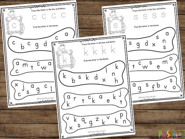 dinosaur bones themed Letter Find