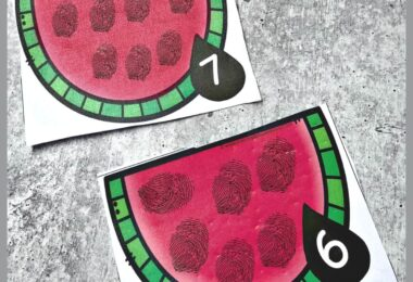 Make counting fun with this hands on, summer themed counting activity. Simply grab the pdf file, print and have toddler, preschool, pre k, and kindergarten age students use washable ink or tempera paint to add seeds to the Watermelon Counting activity.