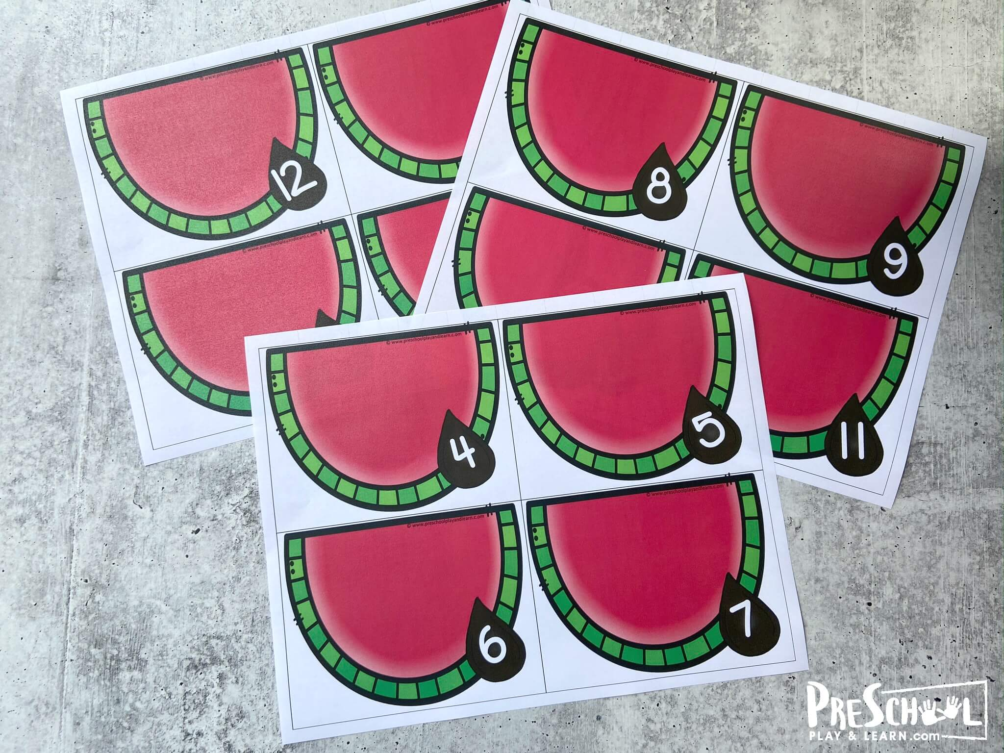 super cute Watermelon Printable counting cards for a fun, hands on summer counting activity for toddlers, preschoolers