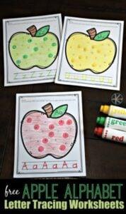 apple find the letter tracing worksheets for preschoolers