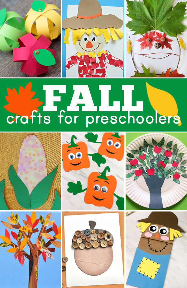 These super cute fall crafts for preschoolers include over 50 fun fall craft ideas to get your toddler, preschool, pre k, and kindergarten age child ready for autumn. These cute apple crafts, leaf crafts, acorn crafts, and pumpkin crafts include lots of cutting, gluing, painting, threading and even some sewing, and they are sure to keep your kids happy and busy making crafts all season from September to October and November.