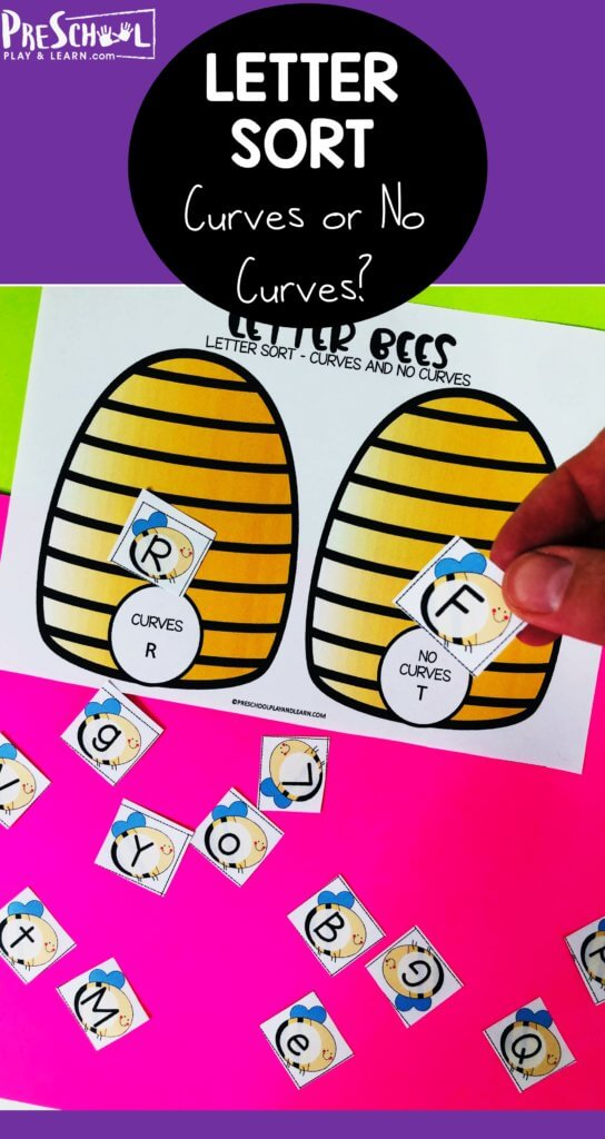 This fun sorting bees activity is a great way to help children work on visual discrimination. Using the bee printables children will sort the letters into hives based on if the letter has curves or no curves. This letter discrimination activity is handy for toddler, preschool, pre-k, and kindergarten age children. Plus thisalphabet activities for preschoolers has a fun bee themed mats! Simply printalphabet sorting worksheet and you are ready to play and learn!